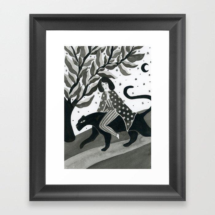 Casual walk with a panther Gerahmter Kunstdruck