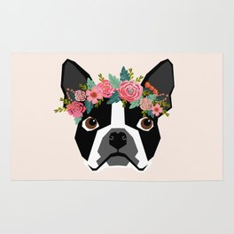 Boston Terrier dog breed with floral crown cute dog gifts pure breed Boston Terriers Rug