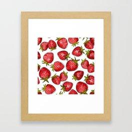 Watercolor Strawberries Framed Art Print