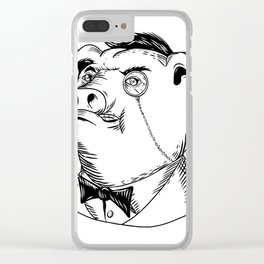 Aristocratic Pig Monocle Black and White Drawing Clear iPhone Case