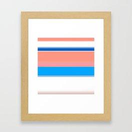 Blue Coral Blush and White Bold Stripes Framed Art Print
