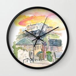 Edinburgh Scotland Street Scene with Castle at Sunset Wall Clock