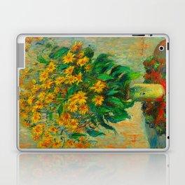 Claude Monet Impressionist Floral Oil Painting Jerusalem Artichoke Flowers, 1880 Laptop & iPad Skin