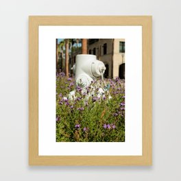 Hydrant and Flowers Framed Art Print