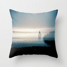 Silence on the Sound - Film Double Exposure taken on the Oregon Coast Throw Pillow