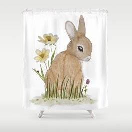 Rabbit Among the Flowers Shower Curtain