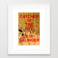 catcher in the rye Framed Art Prints featuring J.D. Salinger, Catcher in the Rye by busylittle1way