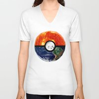 pokeball V-neck T-shirts featuring Galaxy Pokeball by Advocate Designs