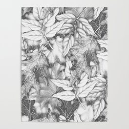 Autumn black white maple leaves bohemian floral pattern Poster
