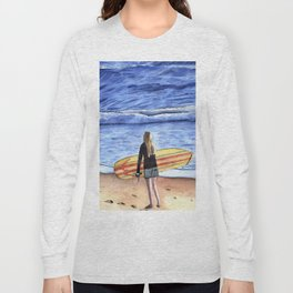 Girl with Surfboard Standing on the Beach Long Sleeve T-shirt