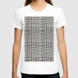 chocolate brown random cross hatch lines checker pattern T-shirt