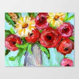 Red Roses and Yellow Daisies Canvas Print