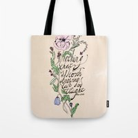 oscar wilde Tote Bags featuring Oscar Wilde Quote  by TLG Creative