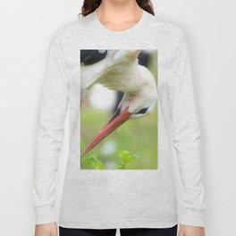 Portrait of a stork in summer Long Sleeve T-shirt