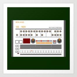 Retro TR-909 Drum Machine Roland Art Print