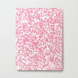 Small Spots - White and Flamingo Pink Metal Print