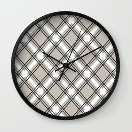 Black, Grey and White Criss-Cross Plaid Pattern Wall Clock
