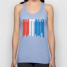 Red White And Blue Buffalo New York Skyline Unisex Tank Top
