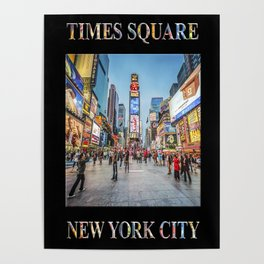 Times Square Sparkle (with type on black) Poster