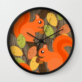 Three Squirrels In A Tree Wall Clock