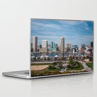baltimore Laptop & iPad Skins featuring Baltimore Skyline by Josh Lohmeyer