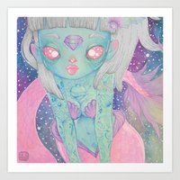 loll3 Art Prints featuring Mermaid by lOll3