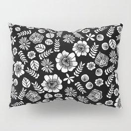 Linocut florals pattern minimal black and white home decor college dorm bohemian printmaking Pillow Sham