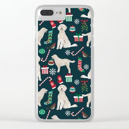 Golden Doodle unique christmas gifts for dog person dog breed pet portraits by pet friendly Clear iPhone Case
