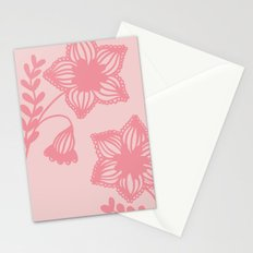 Floral silhouette pink Stationery Cards