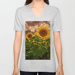 Sunflowers at Sunset Unisex V-Neck