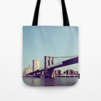 brooklyn bridge Tote Bags featuring Brooklyn Bridge  by Shilpa