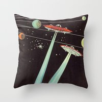 aliens Throw Pillows featuring Aliens  by dreamshade