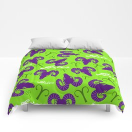 Green and Purple Aries Zodiac Pattern Comforters