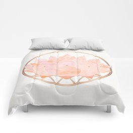 Blush Zen Lotus ~ Metallic Accents Comforters