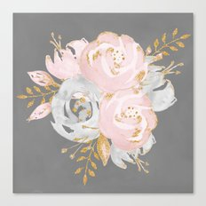 Night Rose Garden Gray Canvas Print