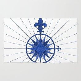 Nautical French Blue Compass Rose Rug