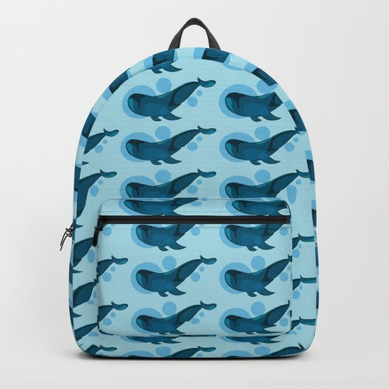 Blue bubble whale Backpack