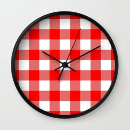 Gingham (Red/White) Wall Clock