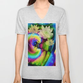 Floating Waterlilies in an Abstract Unisex V-Neck