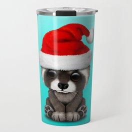 Christmas Raccoon Wearing a Santa Hat Travel Mug