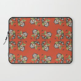 Butterflies and Camellias on Red Pattern Laptop Sleeve