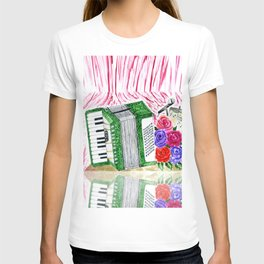 Accordion with roses T-shirt