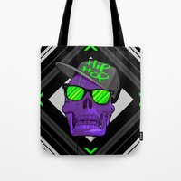 hip hop Tote Bags featuring Hip Hop 4 life by Mike Karolos