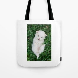 Fluffy White Cute Puppy Tote Bag