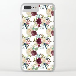 Burgundy ivory green watercolor boho floral pattern Clear iPhone Case