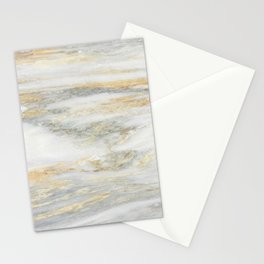 White Gold Marble Texture Stationery Cards