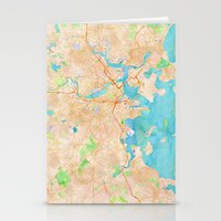 boston map Stationery Cards featuring Boston region watercolor map by Cityette