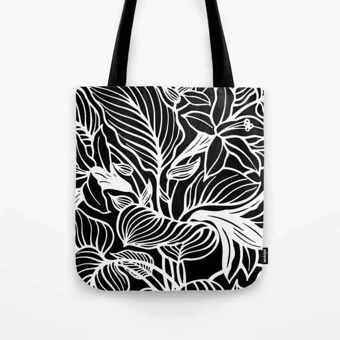 Black And White Floral Minimalist Tote Bag