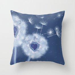 Love Blue Dandelions Hearts Design Throw Pillow
