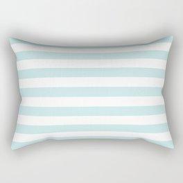 Duck Egg Pale Aqua Blue and White Wide Horizontal Beach Hut Stripe Rectangular Pillow